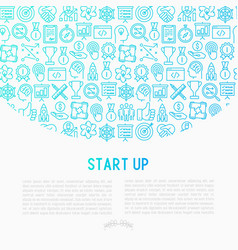 Start up concept with thin line icons vector