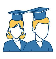students in graduation avatar vector image