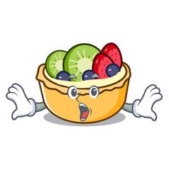 Surprised fruit tart mascot cartoon vector