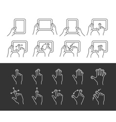 Tablet gesture icons vector image