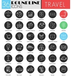 Travel tourism circle white black icon set vector