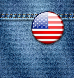 USA Flag Badge on Denim Jeans Fabric Texture vector image