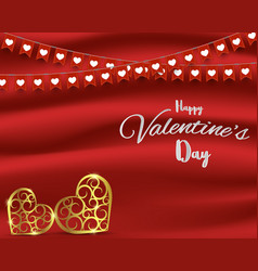valentines day conceptflags and gold heart shape vector image