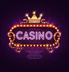 Vegas casino retro light sign for game background vector