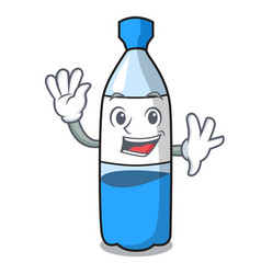 waving water bottle character cartoon vector image