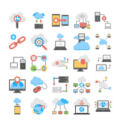 Web hosting and cloud computing flat icons vector