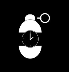 White icon on black background grenade time to vector