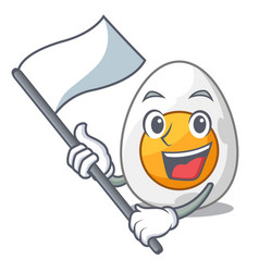 With flag freshly boiled egg isolated on mascot vector