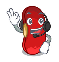 with headphone red beans pile isolated on mascot vector image