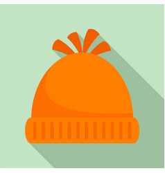 woolen winter hat icon flat style vector image