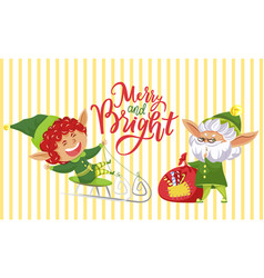 xmas postcard fairy and wish lettering vector image