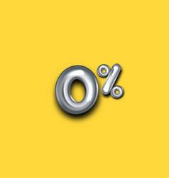 Zero percent symbol silver foil balloons on gold vector