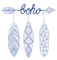 Blue Bohemian Arrow Amulet letters Boho with vector image
