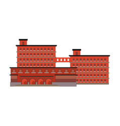 factory building red icon in the flat style vector image vector image