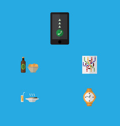 Flat icon lifestyle set of timer lunch router vector