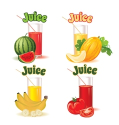 glasses melon banana tomato and watermelon vector image vector image