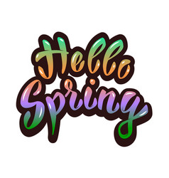 hello spring hand lettering phrase design element vector image