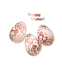 pale shiny metal easter egg decoration floral vector image vector image