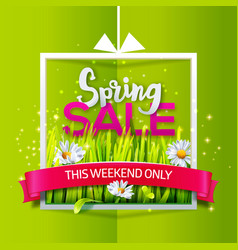 spring sale banner with red ribbon vector image vector image