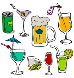 alcohol glass set vector image vector image
