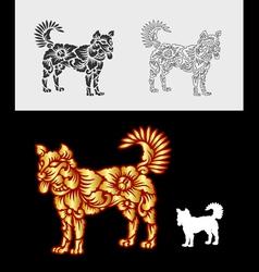Dog gold floral ornament decoration vector image vector image