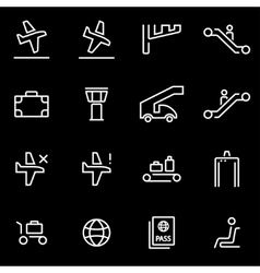 line airport icon set Trendy flat line vector image vector image