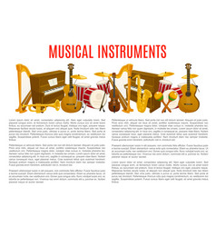 musical instrument poster template music design vector image vector image