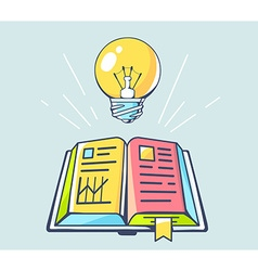 opened book and yellow lightbulb on color vector image vector image