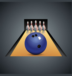 Realistic bowling icon on dark gray background vector