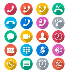 Telephone flat color icons vector image vector image
