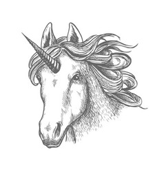 unicorn or fairy tale animal head with horn vector image vector image