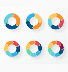 3 4 5 6 7 8 circle arrows for infographic diagram vector
