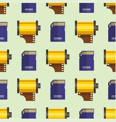 camera photo memory card seamless pattern vector image