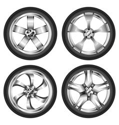Car wheel set vector image
