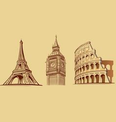 europe cities roma london paris monuments vector image