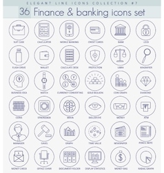finance outline icon set Elegant thin line vector image vector image