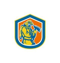 Fireman Firefighter Holding Fire Axe Shield vector image