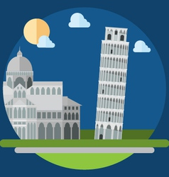 Flat design of piza square buildings vector image vector image