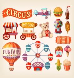 Fun fair icons vector image vector image