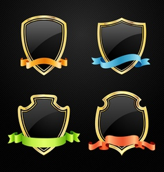 Gold and black shield with ribbon vector image vector image