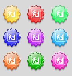 rock climbing icon sign symbol on nine wavy vector image vector image