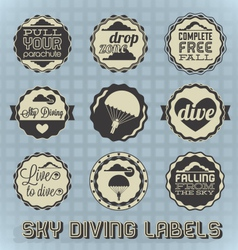 Vintage Style Skydiving Labels vector image vector image