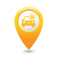 car with wheel pump icon map pointer yellow vector image vector image