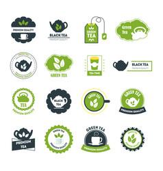 cartoon tea badges or labels set vector image