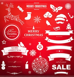 Christmas Symbol Set With Red Bokeh Background vector image vector image