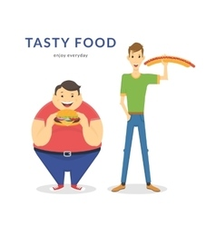 Happy fat and thin men eating a big food vector image