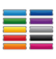Metallic rectangular buttons vector image vector image