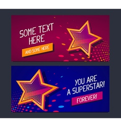 Two banners with big golden star and glow vector