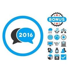 2016 Chat Flat Icon with Bonus vector image