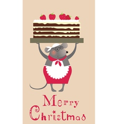 2776 Christmas mouse with cake vector